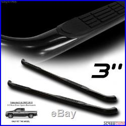 3 Tube Blk Side Step Nerf Bars Running Boards 07+ Silverado/Sierra Extended Cab