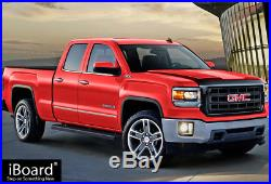 4 Black iBoard Running Boards Nerf Bars Fit 07-18 Silverado/Sierra Double Cab