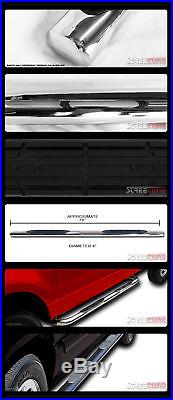 4 Oval SS Side Step Nerf Bars Rail Running Boards 99-18 Silverado Extended Cab