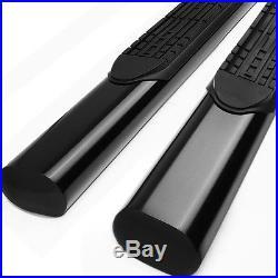 4Black Oval Side Step Bar/Running Board for 01-16 Chevy Silverado Crew Cab 4dr