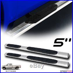 5 Oval SS Side Step Nerf Bars Rail Running Board 99-18 Silverado/Sierra Ext Cab
