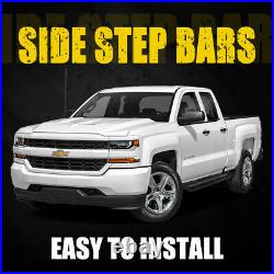6 Black Side Steps For 2007-2018 Chevy Silverado Extended Cab Running Boards