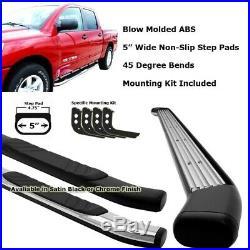 Black 45 Degree Bend 5 Wide Step Running Board For 04-14 Silverado 1500 Crew