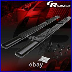 Black 5 Oval Step Nerf Bar Running Boards For 99-14 Chevy Silverado Crew Cab