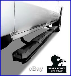 Black Horse 2007-16 Chevy Silverado 15/25/3500 Crew Cab Black Running Boards