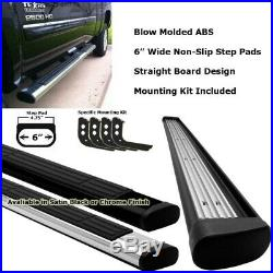 Black Straight 6 Wide Step Running Board For 99-13 Silverado 1500 Extended Cab