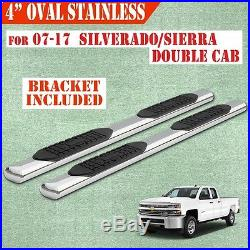 Fit 07-17 Chevy Silverado Double Cab 4 Running Boards Side Step Nerf Bar Oval