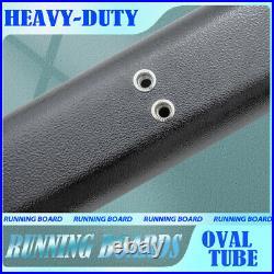 Fit 07-18 Chevy Silverado/Sierra Double Cab 4 Running Board Oval Nerf Bar Black