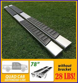Fit 99-18 Chevy Silverado Double Cab 5 Running Boards Side Step Nerf Bar S/S H