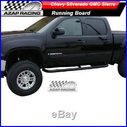 Fits 1999-2013 Silverado GMC Sierra Extended Cab 3inch Black Round Nerf Bars