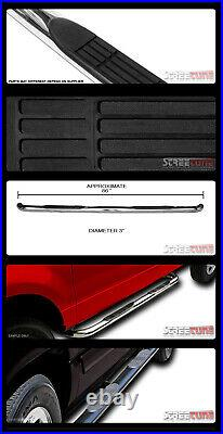 For 07-18 Chevy Silverado Crew Cab 3 Chrome Side Step Nerf Bars Running Boards