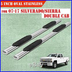 For 07-18 Chevy Silverado Double Cab 5 Running Boards Side Step Nerf Bar Oval
