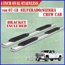 For 07-18 GMC Sierra Crew Cab 4 Running Boards Side Step Nerf Bar Chrome Oval