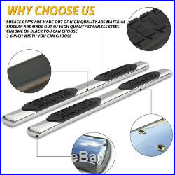 For 07-18 GMC Sierra Double Cab 4 Running Boards Side Step Nerf Bar chrome Oval