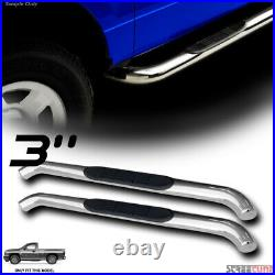 For 07-18 Silverado/Sierra Reg Cab 3 Chrome Side Step Nerf Bars Running Boards