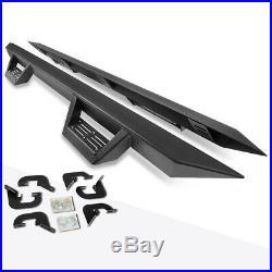 For 07-19 Silverado/Sierra Ext Cab 3 Side Nerf Bar Running Board+Down Step Pad