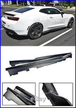 For 16-Up Chevrolet Camaro LT LS SS RS Carbon Fiber Side Skirts T6 Style V6 V8