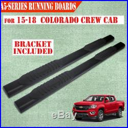 For 2015-2019 Colorado/Canyon Crew Cab 5 Black Running Board Nerf Bar Side Step