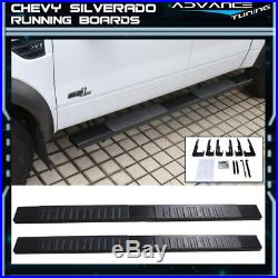 For 99-13 Chevy Silverado Ext Cab Side Step Bar Running Boards Black 6inch Pair