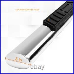For 99-14 Silverado/Sierra Ext Oval 5 Side Step Nerf Bar Running Board Chrome