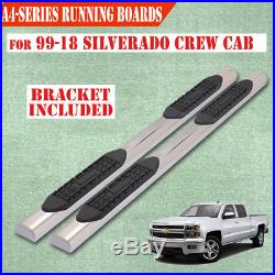 For 99-18 Chevy Silverado Crew Cab 4 Running Boards Side Step Stainless Steel A