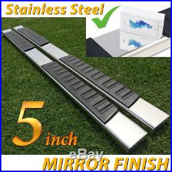 For 99-18 Chevy Silverado Crew Cab 5 Running Boards Side Step Stainless Steel H