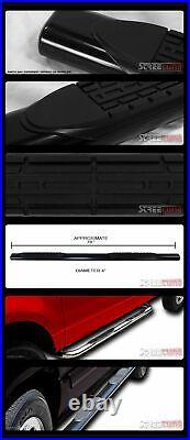 For 99-18 Silverado/Sierra Ext Cab 4 Tube Blk Side Step Nerf Bar Running Board