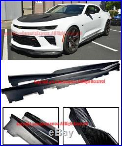 R Style Carbon Fiber Extension Side Skirts Lower Lip For 16-Up Chevrolet Camaro