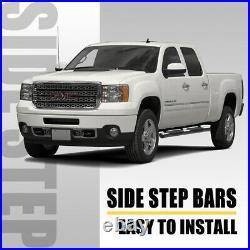 SUPER DRIVE 5 Oval Side Bars For 2001-2018 Chevy Silverado 1500 2500HD Crew Cab