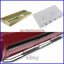 Silver Steel 3 Wide Step Running Board For 99-16 Silverado 1500 Extended Cab